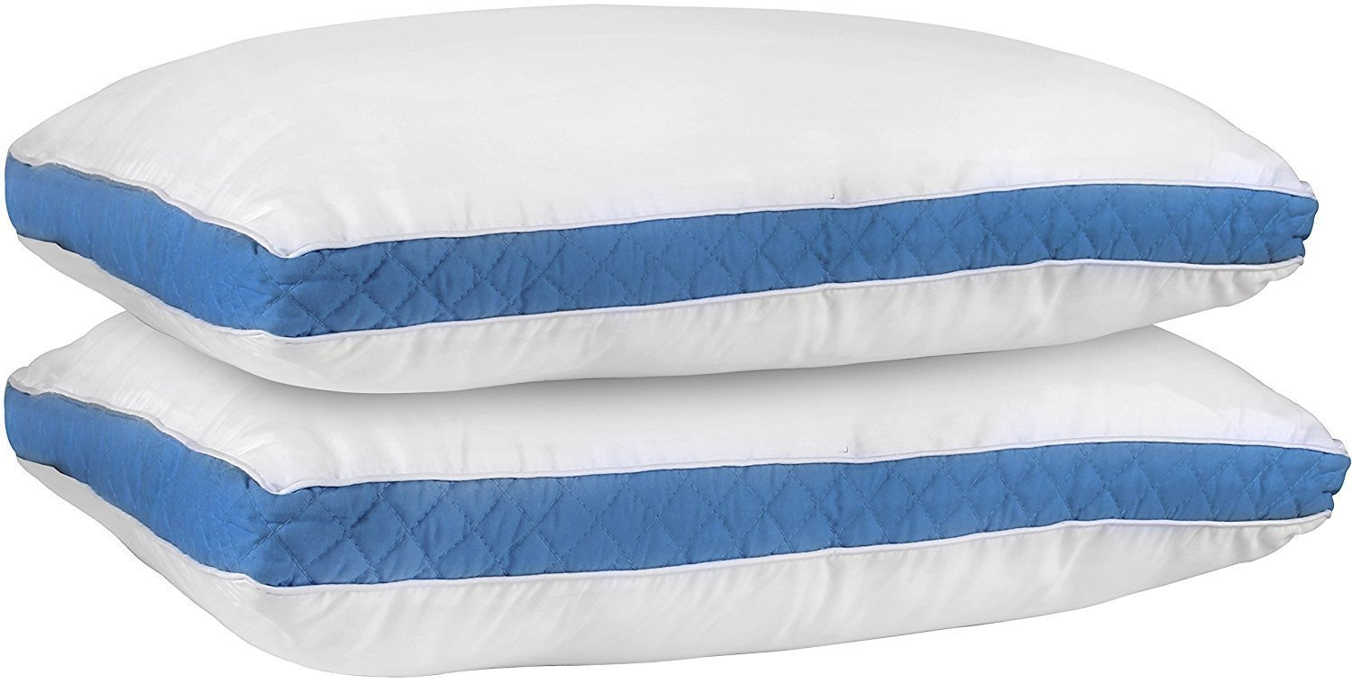 Utopia Bedding Gusseted Quilted Pillow (King 18 x 36 Inches, Blue) Set of 2 Premium Quality Bed Pillows for Side and Back Sleepers with Blue Gusset