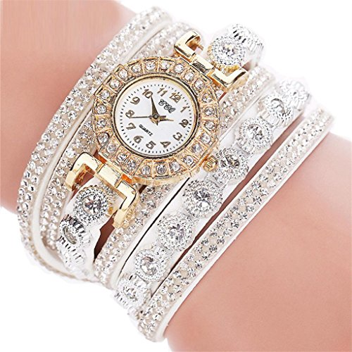 Bracelet Watch Ladies White (Rhinestone Bracelet Watch,COOKI Analog Fashion Clearance Lady Watches Female Watches on Sale Casual Wrist Watches for Women,Round Dial Case Comfortable PU Leather Watch-H14 (White))