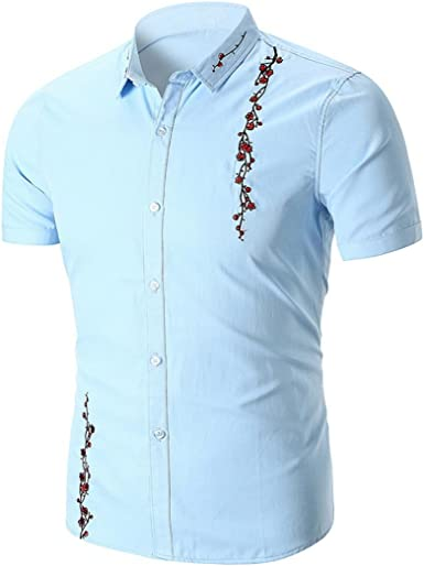 Longay Men Shirts Mens Summer Fashion Business Leisure Printing Long-Sleeved Shirt Top Blouse