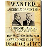 Al Capone Wanted Poster Canvas Art Wall Picture, Museum Wrapped with Black Sides, 20 x 26 inches