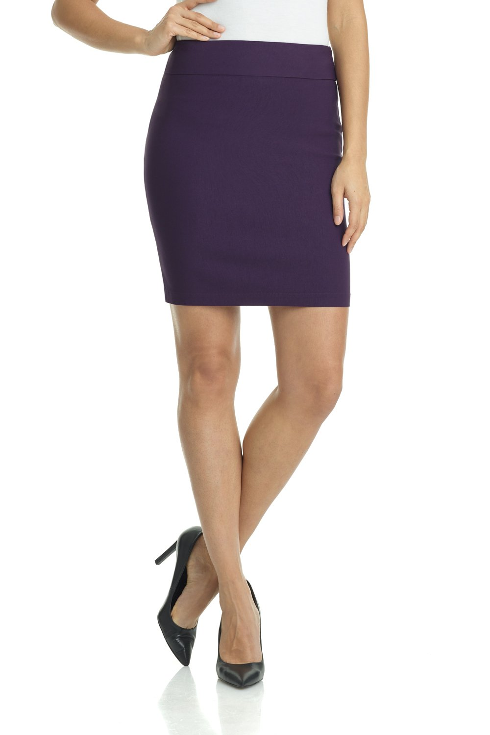 Rekucci Women's Ease in to Comfort Stretchable Above The Knee Pencil Skirt 19'' (X-Small,Deep Plum)