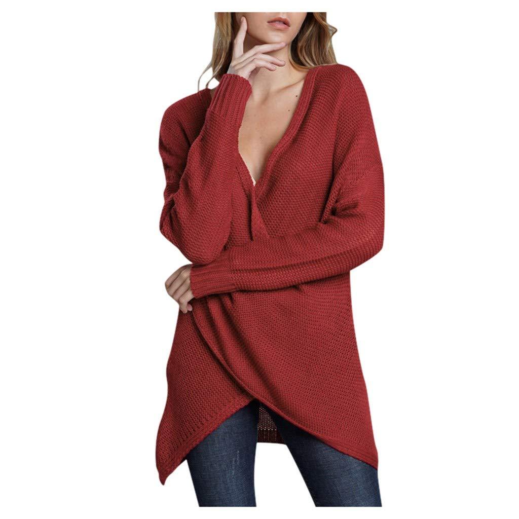 Yezijin Women Fashion Loose Knitted Solid Long Sleeve V-Neck Sweater Blouse Tops 2019 Under 10 by Yezijin Long Sleeve Tops