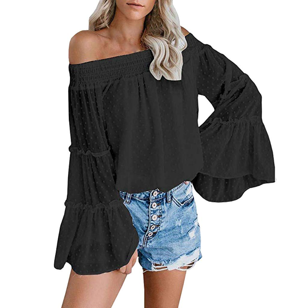 Godathe Women's Striped 3/4 Bell Sleeve Off The Shoulder Front Tie Knot T Shirt Tops Blouse (Black, XXL) by Godathe Women Top