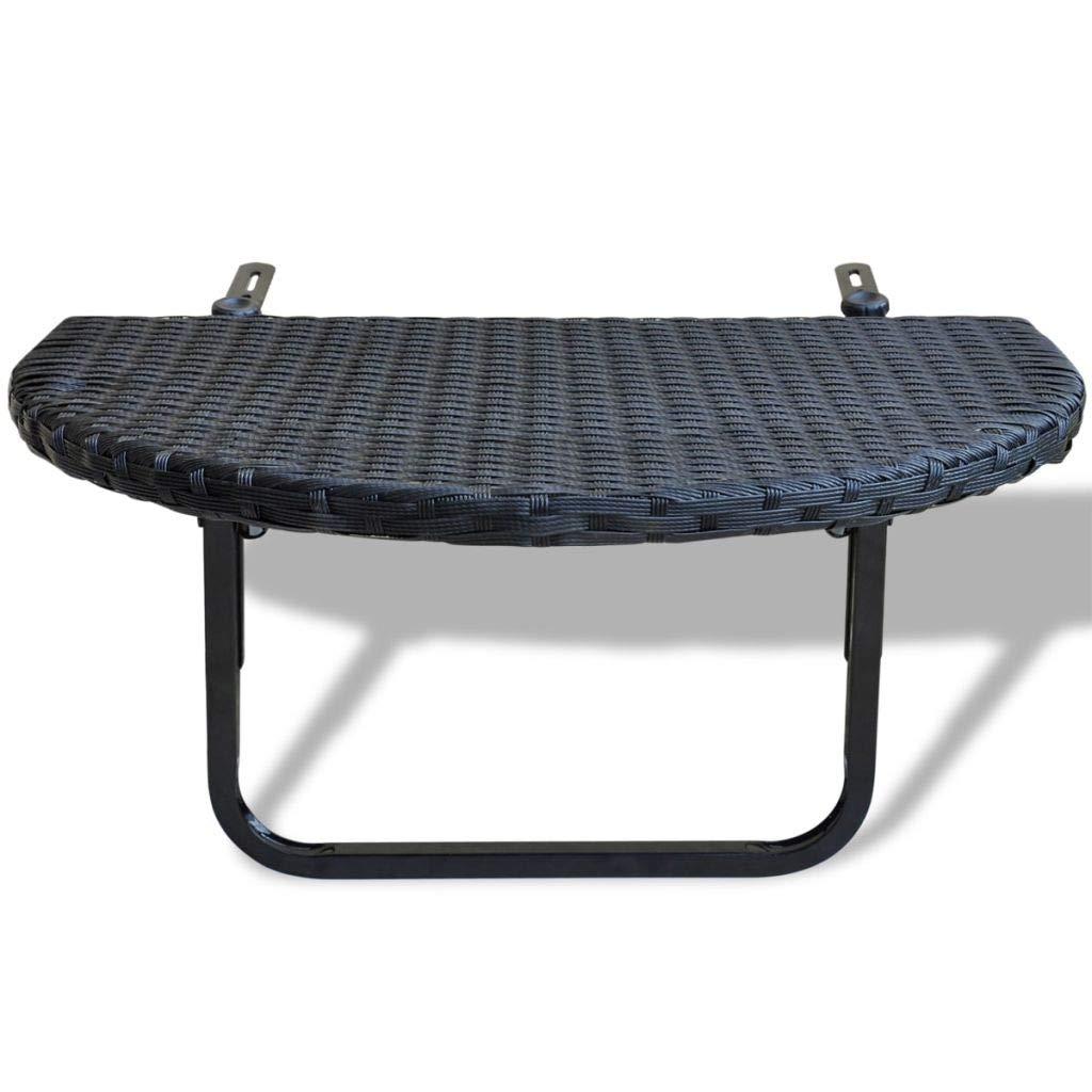 Foldable Balcony Table Poly Rattan Black (Stock US)