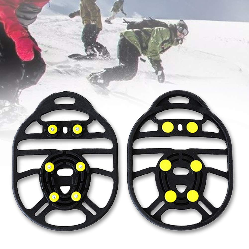 1 Pair Ice Traction Cleats,Ice Gripper,6 Stud Crampon Anti Slip Pro Traction Cleats Ice Cleats Traction Snow Grips for Boots Shoes,Ice Gripper for Hiking Fishing Walking Climbing