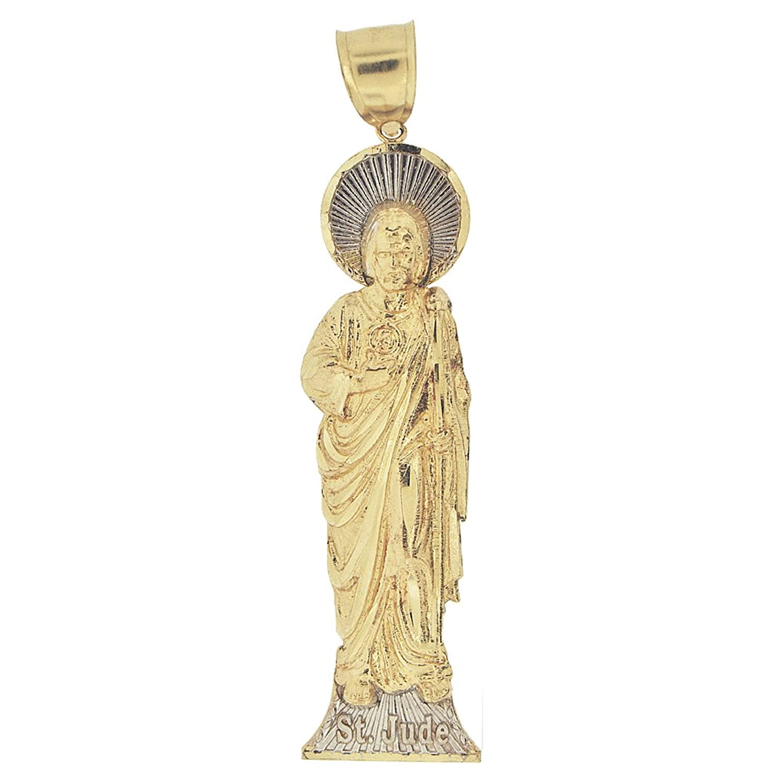 Amazon 14k yellow gold white rhodium saint jude san judas amazon 14k yellow gold white rhodium saint jude san judas pendant religious charm 80mm tall necklaces jewelry mozeypictures Gallery