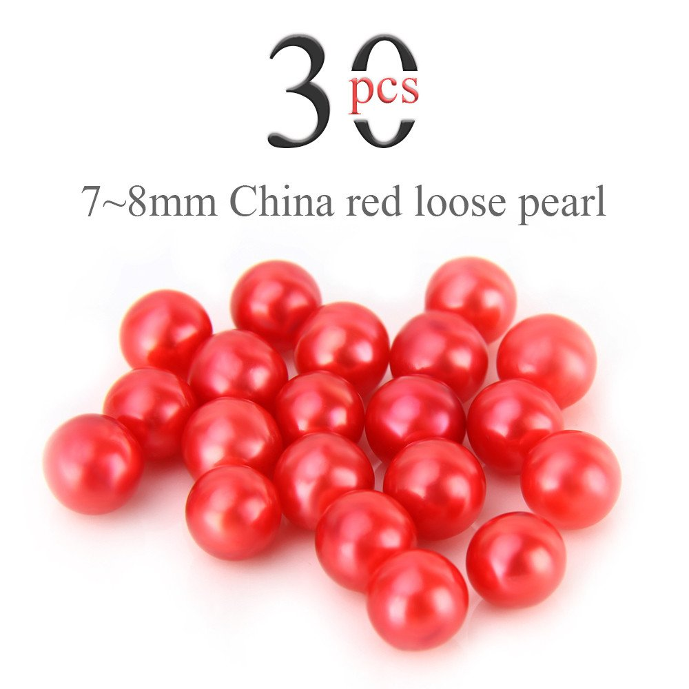 Loose Beads 7-8mm Akoya Round Cultured Saltwater 30PCS, No Holes, Jewelry Making (Hot Red)