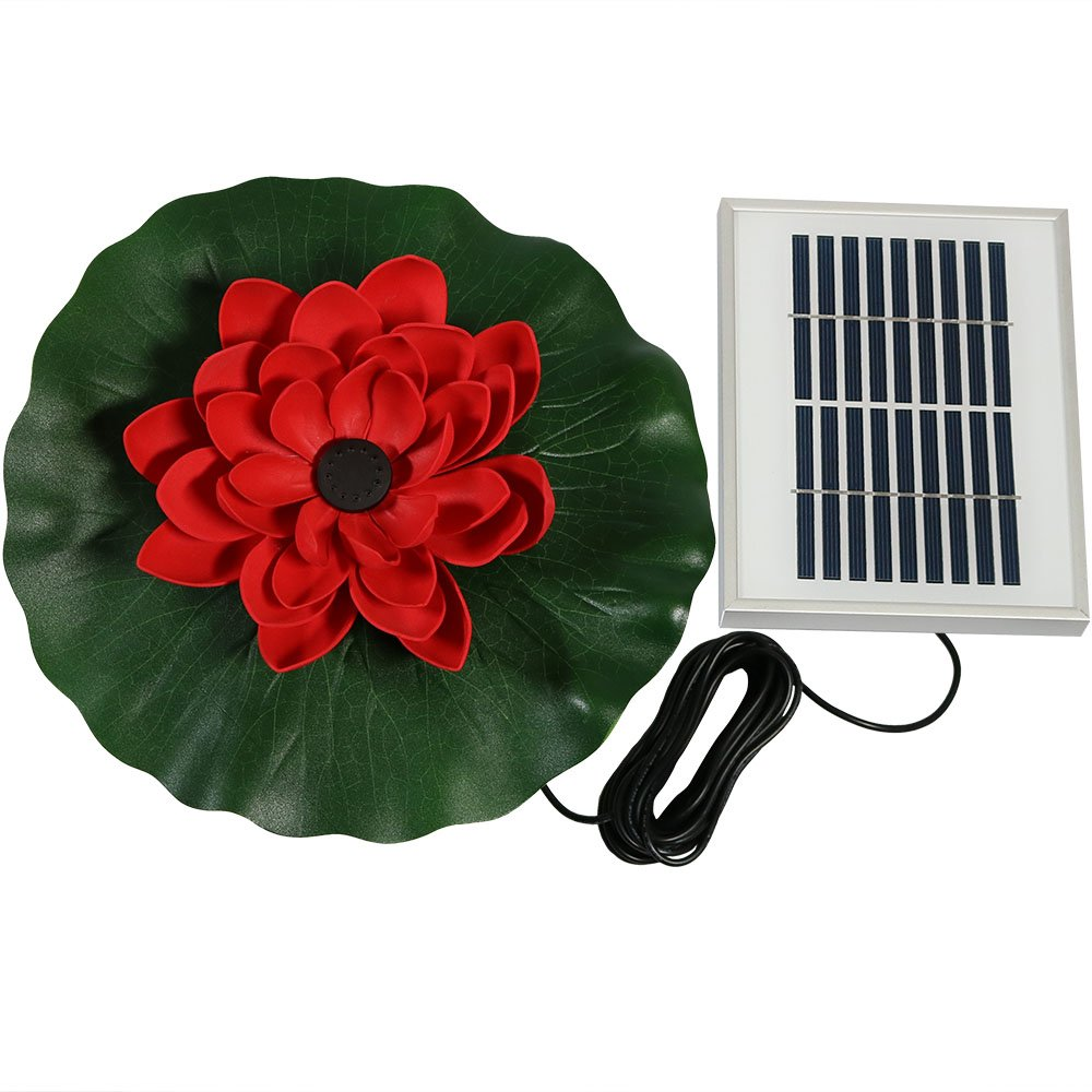Sunnydaze Submersible Water Pond Pump Solar Fountain Kit, Outdoor Floating Lotus Flower, 48 GPH, Red