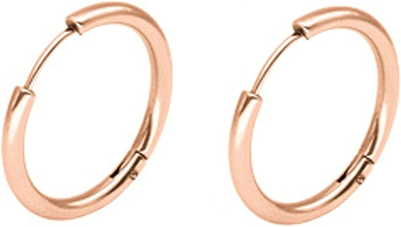 Epinki Joyería de moda Acero inoxidable 2.5MM Mujeres Hombres Aro Pendientes 1 Par Rosa Oro 18MM