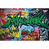 great-art Fototapete Street Style Wandbild Dekoration Graffiti Art Writing Pop Art Schriftzüge Wall Painting Mauer Urban Abstract Comic | Foto-Tapete Wandtapete Fotoposter Wanddeko by (336 x 238 cm)