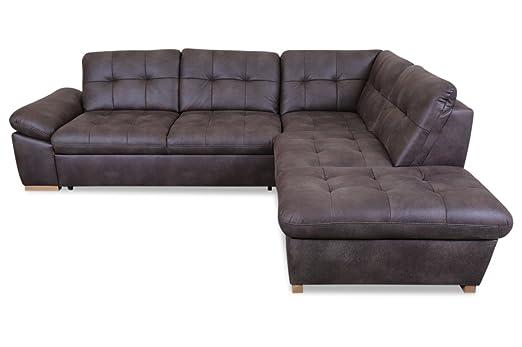 Sofa Couch Rundecke Hugo Mit Schlaffunktion Braun Amazon De