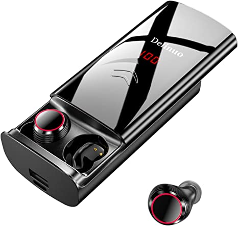 Delinuo Auriculares Inalámbricos Bluetooth 5.0, Auriculares Bluetooth Estéreo Hi-Fi Sonido IPX6 Resistentes al Agua, 260H Autonomía 6000mAh Estuche de Carga para iPhone y Android