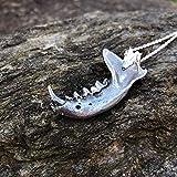 Polecat jawbone necklace, hand made in Britain, gothic statement alternative style gothic animal skull bone