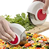 KitchenIQ (2 Pack) 2-in-1 Stainless Steel Pizza Cutter Pizza Slicer One Blade Wheel & Dual Blade Herb Mincer Roller With Cover