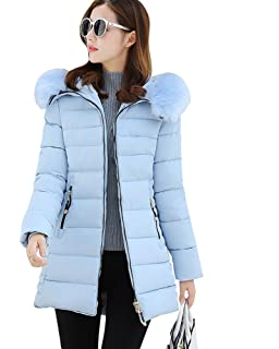ZhuiKun Chaqueta Abrigo Parka Espesar con Capucha Pelaje Collar de Invierno para Mujer