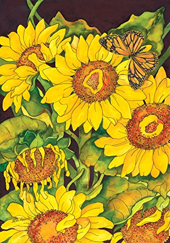 Toland Home Garden Sunflower Delight 28 x 40 Inch Decorative Summer Fall Yellow Flower Butterfly House Flag ()