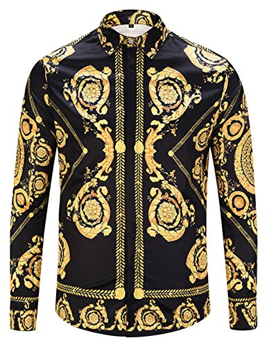Pizoff Mens Hipster Casual Button Down Dress Shirt Long Sleeve Luxury Gold Print Designer for Party Night Club Y1792-57-L by Pizoff