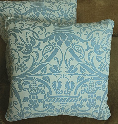 Mariano Fortuny Cotton Fabric Custom Designer Throw Pillows Uccelli Soft Blue Off White New Set of 2