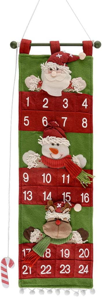 lunaoo Christmas Hanging Advent Calendar with 24 Pockets, Fabric Felt Countdown to Christmas Calendar, Santa Reindeer Wall Ornaments for Home Office Holiday Decoration