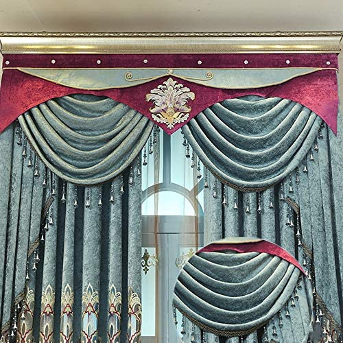 European Chenille Blue Embroidered Waterfall Blackout Curtain Valance with Beads Villa Luxury Floral Curtain Drapes Rod Pocket Top Window Treatments Valance for Living Room 1 Panel W98 Inch