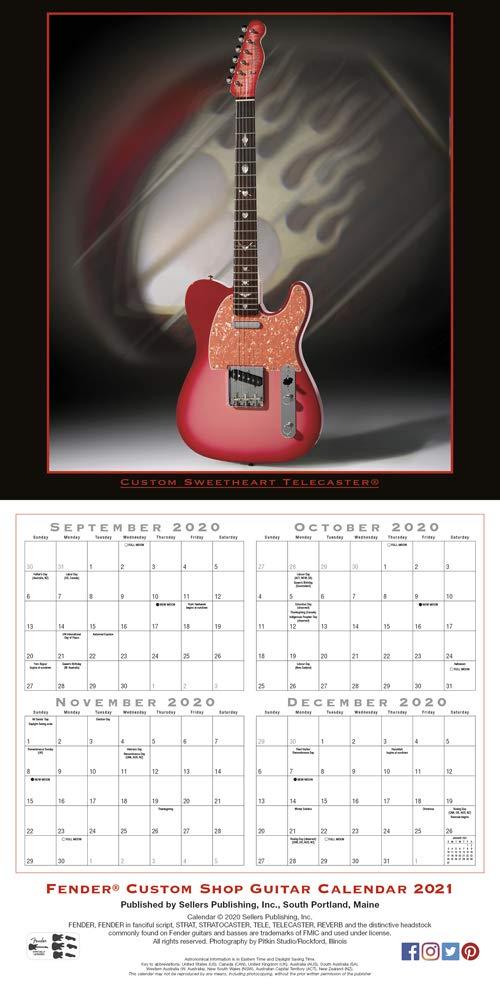 2021 Fender Custom Shop Guitar 16 Month Wall Calendar: Fender