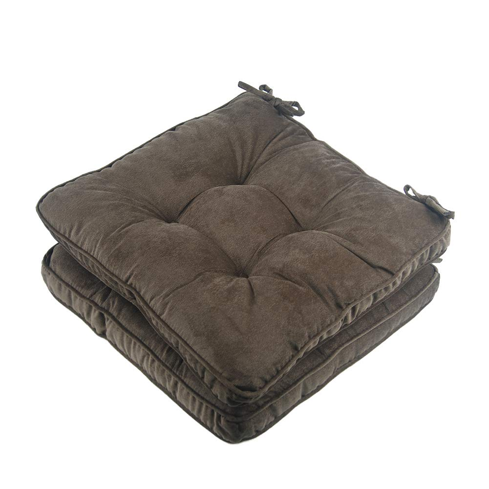 Tiita Solid Papasan Patio Seat Cushion Square Chair Pad Home Floor Cushion 18 Inch Set of 2 Throw Pillows Indoor/Outdoor with String Ties Coffee
