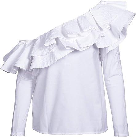 Camisa Mujer Manga Larga One Shoulder con Volantes Hipster Elegantes Blusas Casuales Especial Estilo Shirt Flecos Slim Fit Camisas Señoras Primavera Verano: Amazon.es: Ropa y accesorios