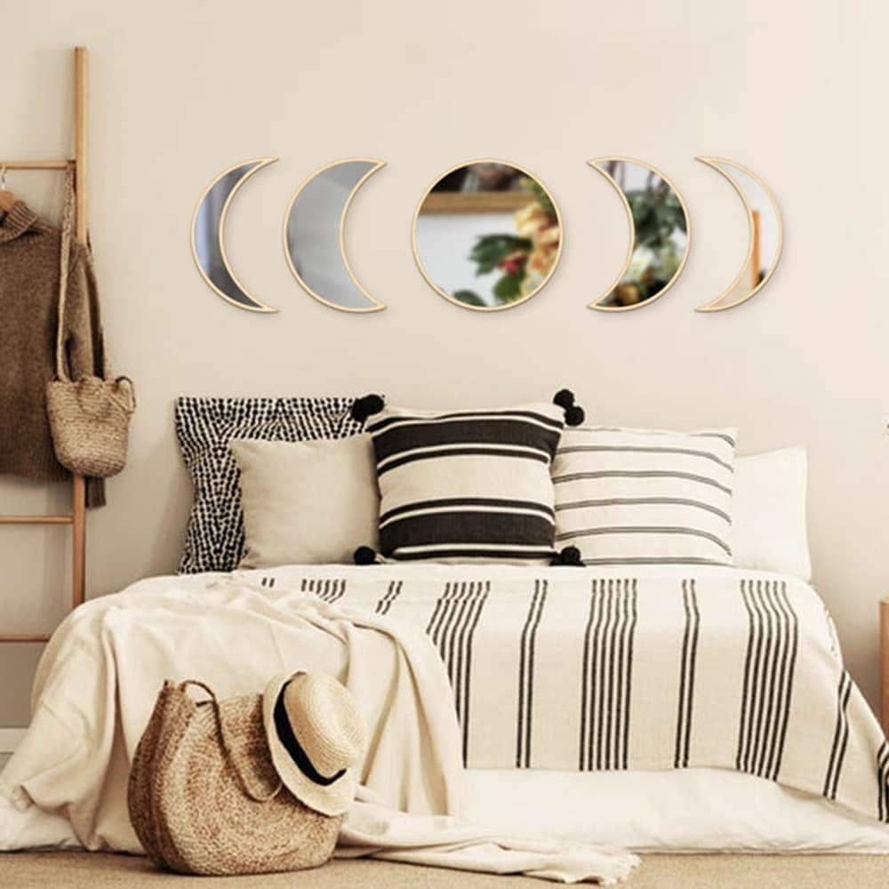 Bohemian Home Decor for Bedroom Living Room,5 pcs Scandinavian Natural Decoration Warmnow Acrylic Moon Phase Mirror Set Crescent Moon Mirror Beige Wooden Moon Mirror Wall Decor