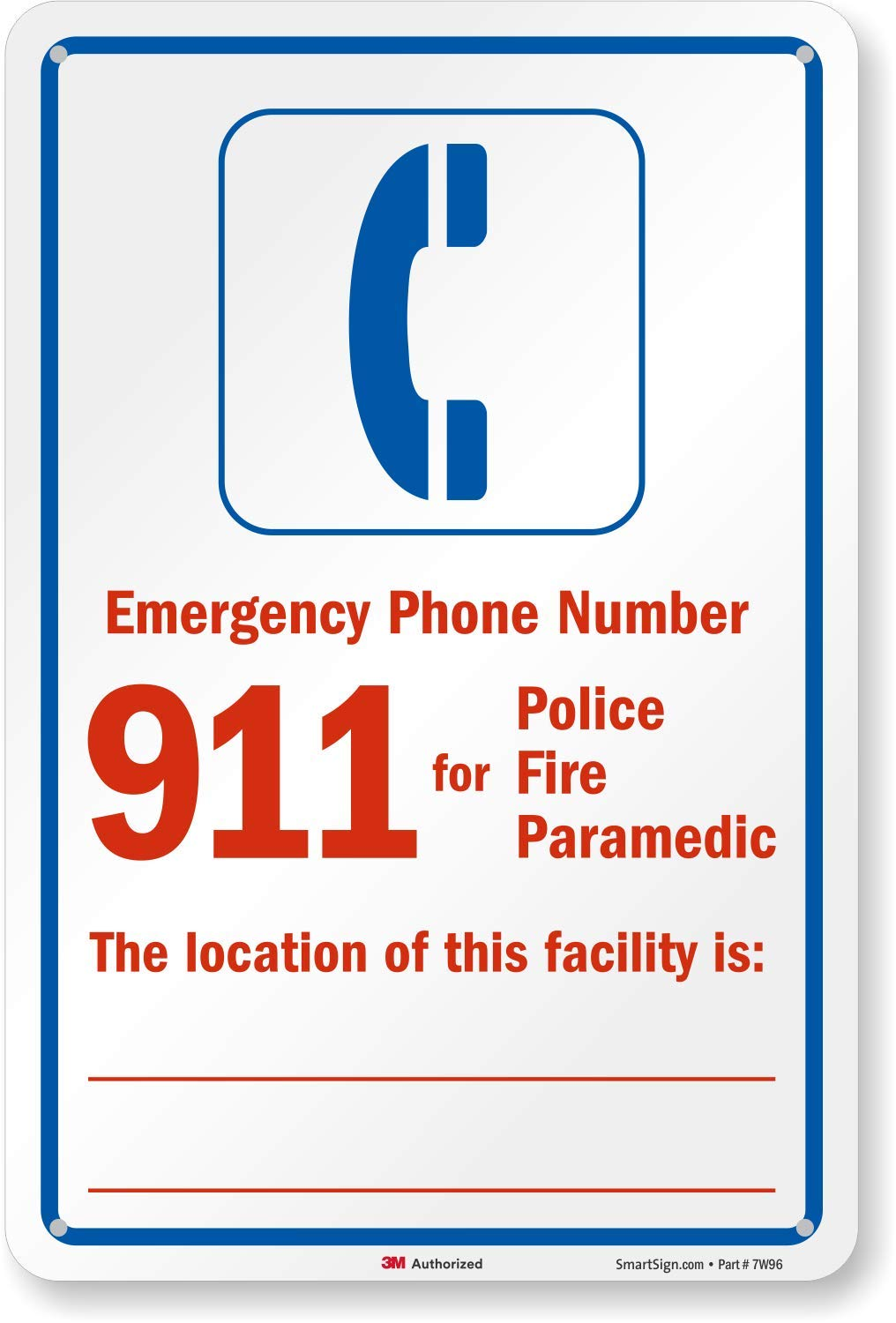 SmartSign''Emergency Phone Number - 911 for Police, Fire, Paramedic'' Sign | 12'' x 18'' 3M Engineer Grade Reflective Aluminum by SmartSign