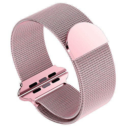 Buckle Gold Mesh (SIRUIBO Band for Apple Watch 38mm, Stainless Steel Mesh Milanese Loop with Magnetic Closure Clasp Replacement Wristband Bracelet for Apple Watch iWatch Series 3/2/ 1 Nike+ Edition, Rose Gold)