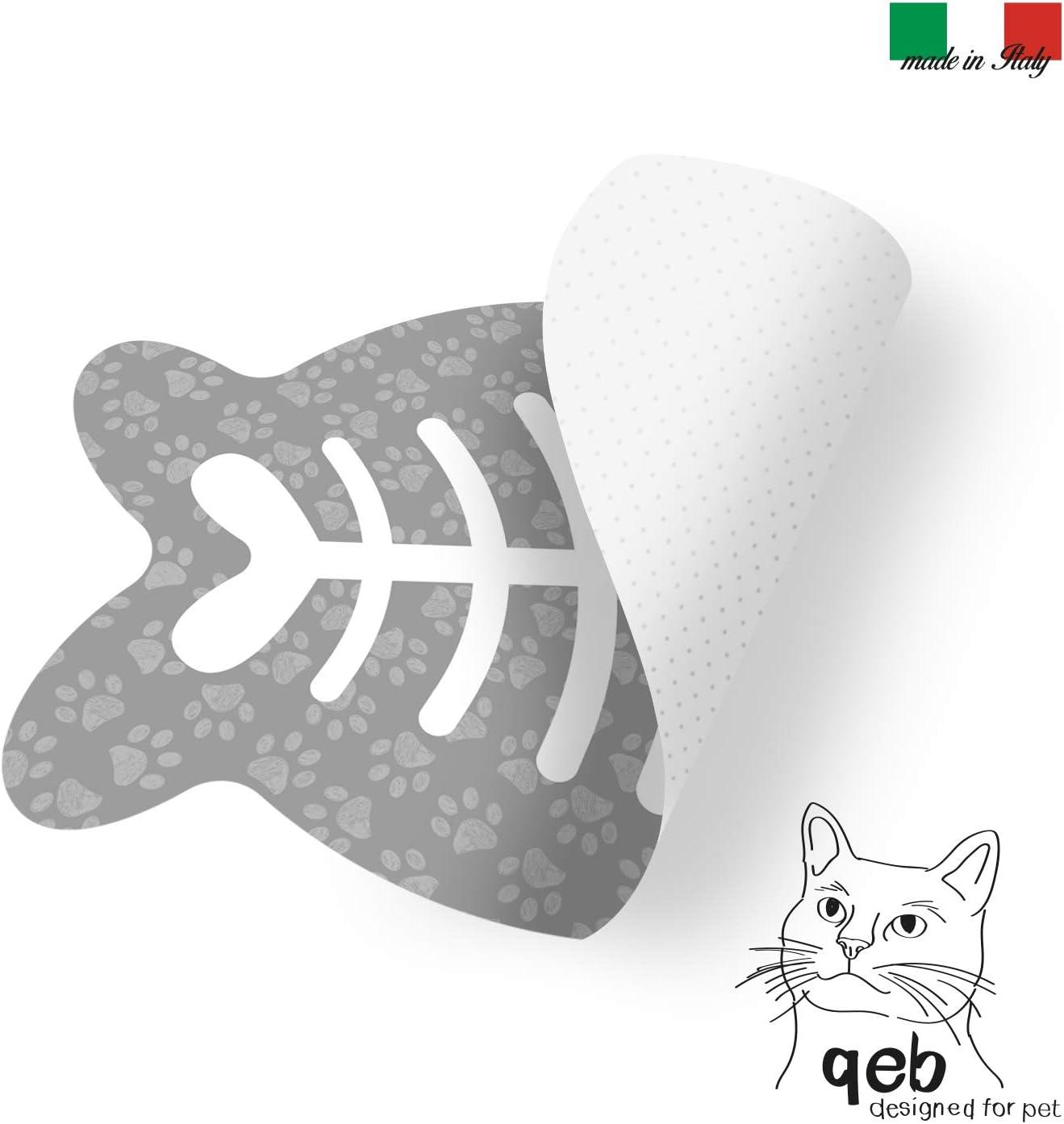 45x30 cm con Pesce Grigio Q/&BGRAFICHE Sottociotola per Gatti Colore Grigio TCAT-GR Idea Regalo Tappetino per Ciotole per Gatti tovaglietta sottociotola AntiGraffio Antiscivolo Lavabile con Pesce
