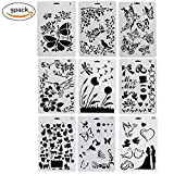 NABLUE Drawing Painting Stencils Scale Template Sets,For Bullet Journal Stencil Planner/Notebook/Diary/Scrapbook/DIY Painting Craft Projects (9 Different Styles Stencils)