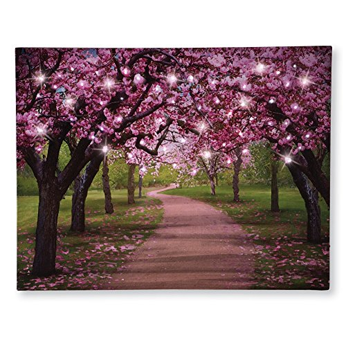 Lighted Cherry Blossom Trees Canvas