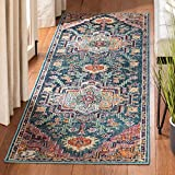 """Safavieh Crystal Collection CRS501T Runner, 2' 2"""" x 11', Teal/Rose"""