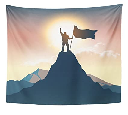 Emvency Tapestry Wall Hanging Man Silhouette On Mountain Top Polyester Fabric Home Decor For Living Room