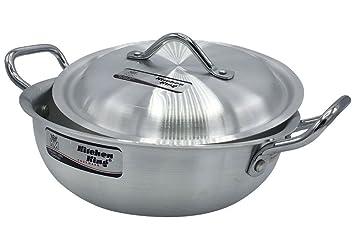 23 cm a 33 cm aluminio Wok Stir Fry olla freidora KARAHI olla cocinar cocina King, aluminio, plata, 26cm - 10inch - Capacity 4.5L: Amazon.es: Hogar
