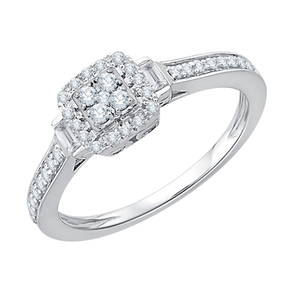 Round and Baguette Cut Diamonds Anniversary Ring in Sterling Silver (2 1/2 cttw) (GH-Color, I2/I3-Clarity) (Size-7.75)