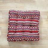 TMJJ Cotton Linen Floor Pillow Cushion Indian Style Square Seat Cushion Thicken Chair Wave Window Pad 21'' x 21'',Bohemia