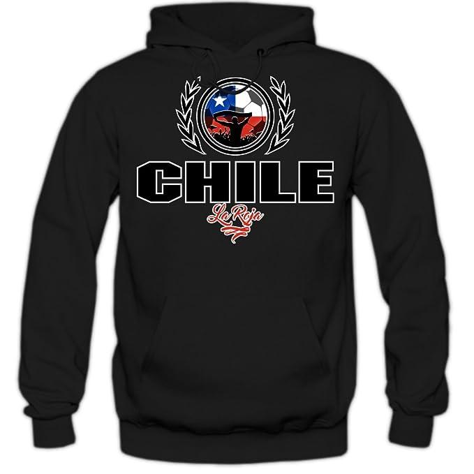 Shirt Happenz Fútbol Chile V2 Sudadera con Capucha | Hombre | Fútbol | Equipo Nacional | Selección Nacional | Chile | La Roja | Hoody: Amazon.es: Ropa y ...