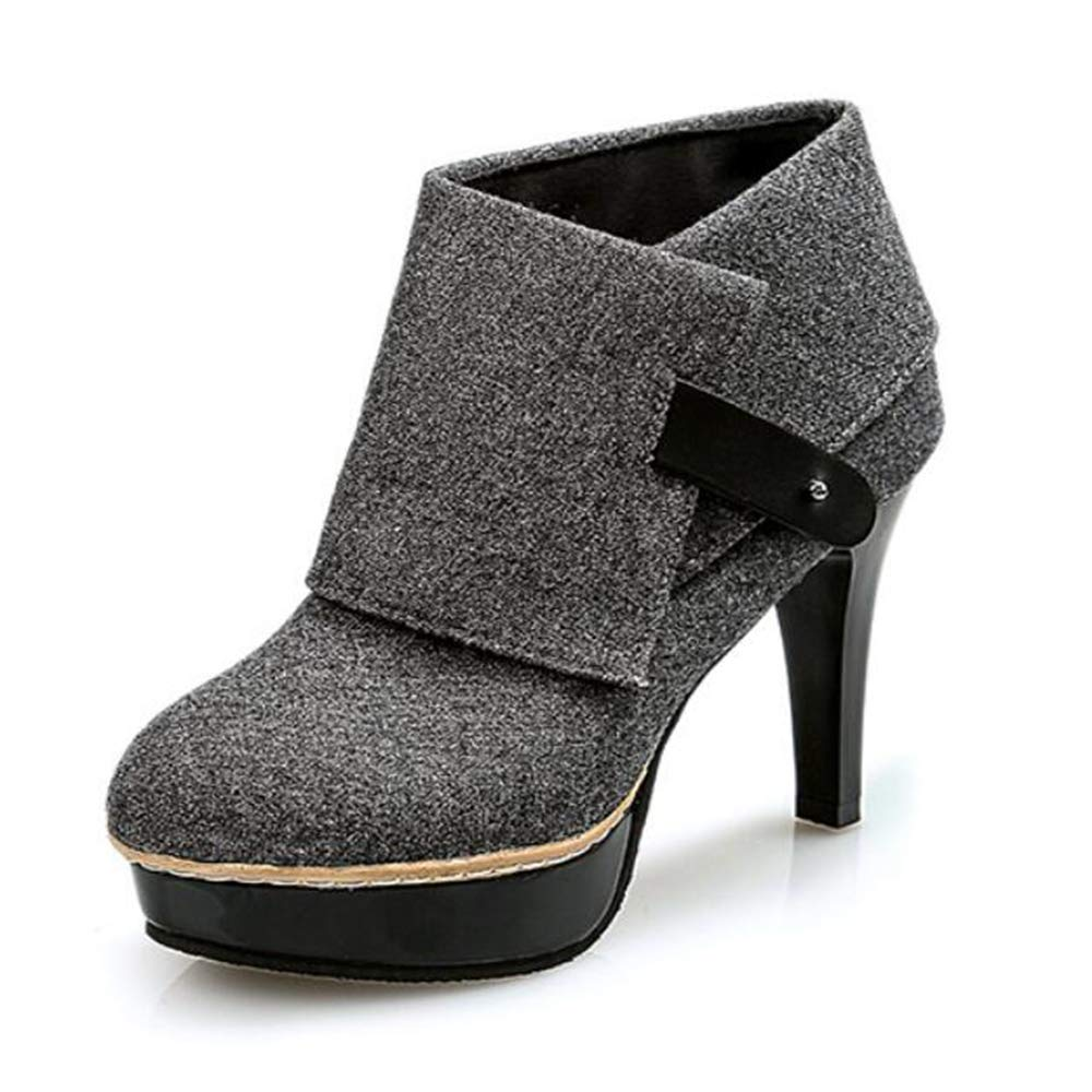 CITW Herbst Damenstiefel Großformat Damenstiefel Wasserdichte Plattform High-Heels Einzel Stiefel Super Hochhackige Damenstiefel Mode Stiefel,grau,UK5 EUR39