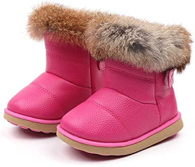 Toddler//Little Kids Boys Girls Winter Outdoor Ankle Booties Warm Fur Snow Boots Flat Bailey Button Short Shoes Boot