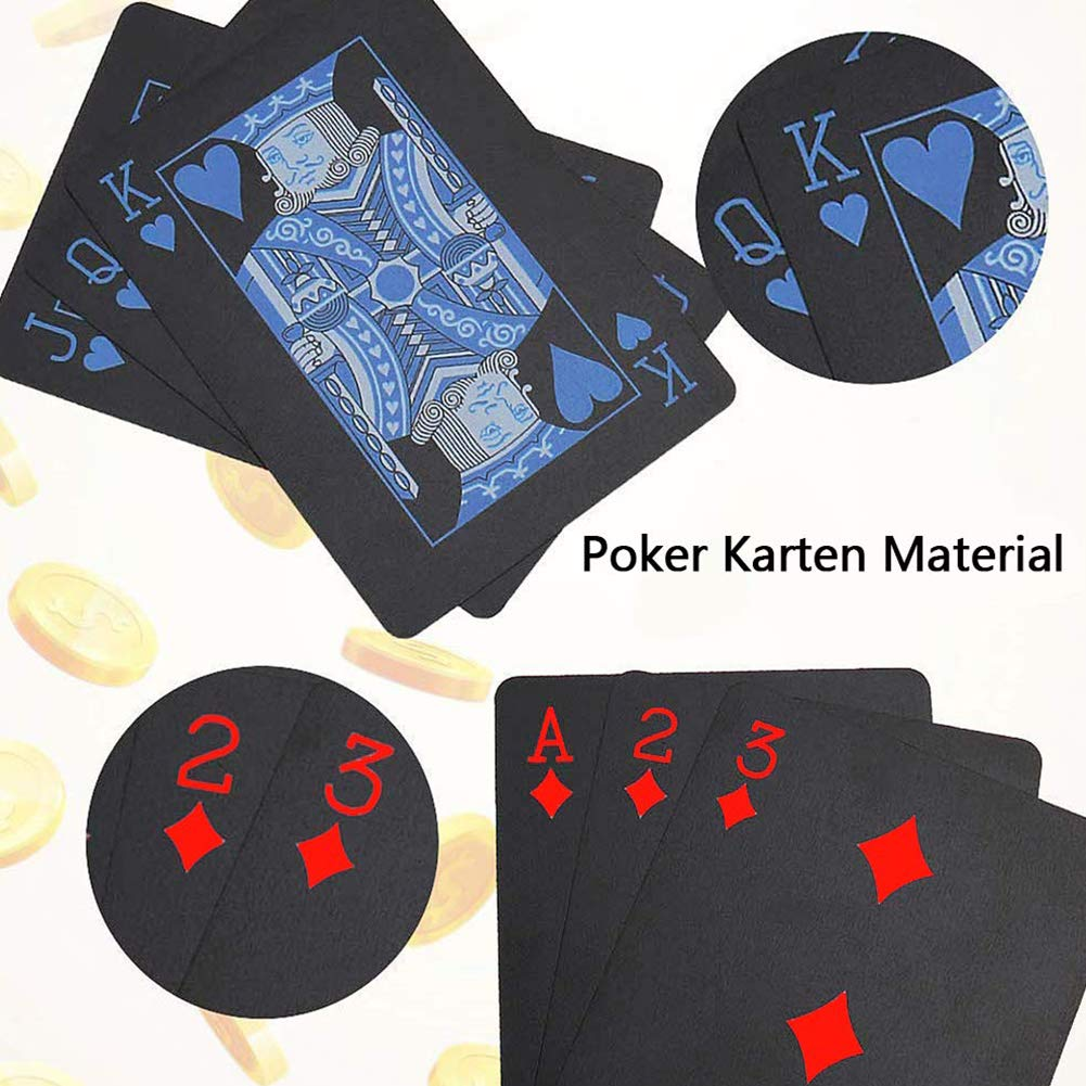 Red and Blue REYOK Playing Cards Multipack Poker Cards Waterproof Plastic Foil Card Set Magic Tricks Tool 2 Decks Gold Silver for Men Women Party Game Show