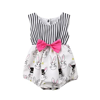 Baby Romper Girl Summer,Elevin(TM) Toddler Infant Newborn Baby Girl Easter Rabbit Print Costumes Romper Jumpsuit Bodysuit Clothes Set Outfit for 0-24 Months (3M, White) : Baby