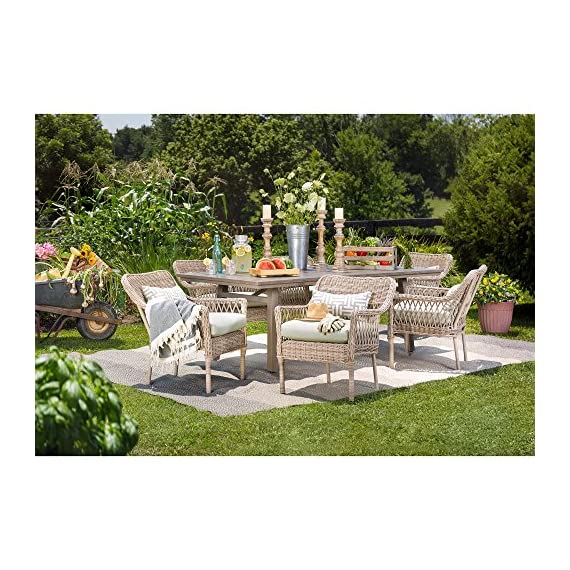 Blue Oak Outdoor Colfax Patio Furniture 7 Piece Dining Set (Dining Table, 6 Dining Chairs) with Sunbrella Cast Oasis Cushions - Luxury patio Dining: you and your party guests will dine in comfort while enjoying cocktails and great conversation. Ideal for patio, garden, deck, porch, fire pit, and Poolside entertainment Trusted quality: beautiful and Best quality outdoor patio furniture set made by the Best known veterans in the patio set industry with dozens of years of experience and innovation Long lasting build: fully hand-woven from oversized vintage Rattan inspired all-weather wicker patio furniture weave chairs. The thick, rustproof aluminum gives it superior durability in the elements - patio-furniture, dining-sets-patio-funiture, patio - 61qhksPRUEL. SS570  -