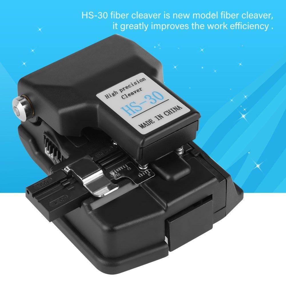 Coupeur de fibre optique outil de coupe de fibre de couperet de fibre de haute pr/écision HS-30 avec fonction de mise au point automatique Facile /à utiliser sans comp/étences particuli/ères Noir