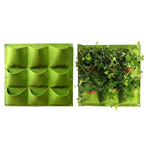 Yuccer Vertical Garden Planter, Wall-Mounted Planting Bags Hangers Outdoor Indoor Vegetables Flowers Growing Container Pots (9 Pocket, Green)