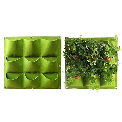 Yuccer Vertical Garden Planter, Wall Mounted 9 Pockets Planting Bags  Hangers Outdoor Indoor Vegetables