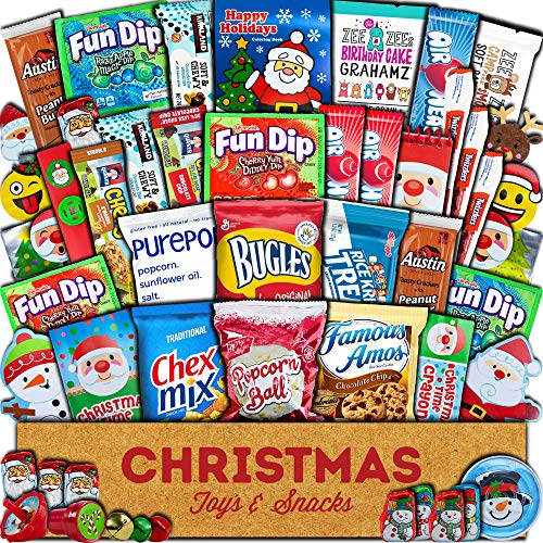 Christmas Toys and Snacks (45 count) Holiday Stocking Stuffers Gift Box Assortment of Festive Candy, Chocolates, Cookies - Present for Kids, Children, Grandchildren, Boys, Girls, College Students
