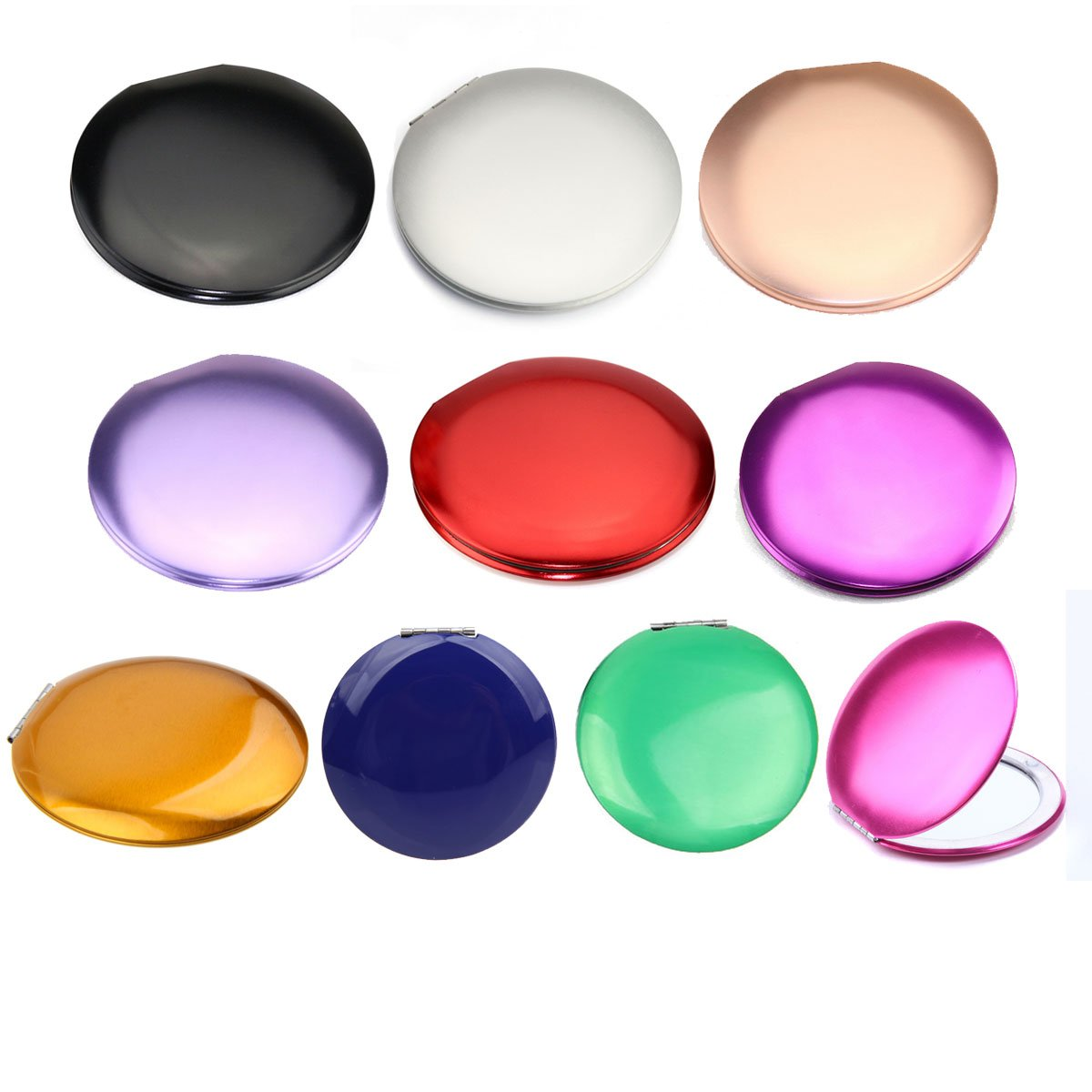 10pcs Different Colors Double Compact Cosmetic Makeup Round Pocket Purse Magnification Jewel Mirror 10pcs-A