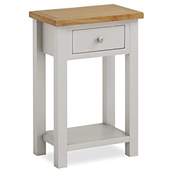 phone table. farrow painted hall table / telephone stone grey with oak top \u0026 drawer: amazon.co.uk: kitchen home phone